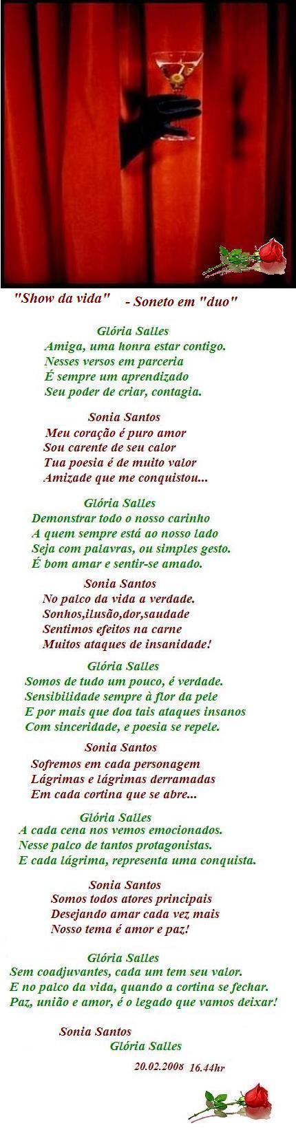 """""""Show da vida"""" - Soneto em duo com Sonia Santos"""